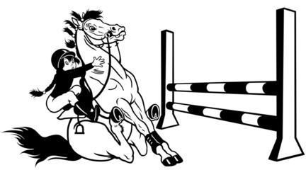 girl training horse black white