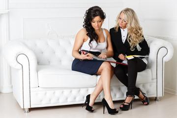 Female designer of interior.