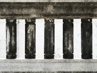 Dark old dirty balustrade in cylinder shape