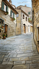 Old Buildings In Typical Medieval Italian City - illustration