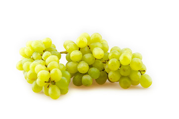 bunch of ripe grapes on a white background