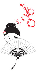 Chinese woman with a fan