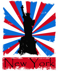 Foto op Plexiglas Doodle Grunge New York illustration on sunburst background