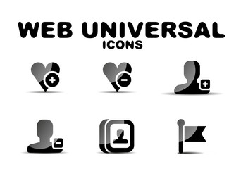 Black glossy web universal icon set