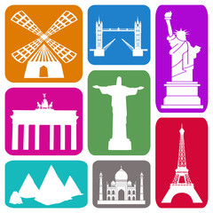 Foto op Plexiglas Doodle Wallpaper with famous historical sites in colorful rectangles