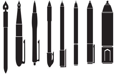 Silhouette of pens