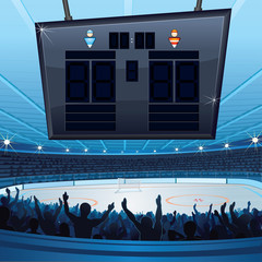 Hockey Stadium. Background with Empty Scoreboard