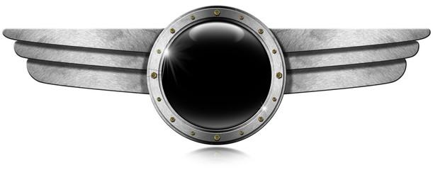 Metallic Porthole with Metal Wings