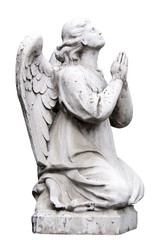 sculpture of praying angel, isolated