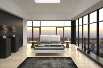 Modern Design Bedroom with landscape view