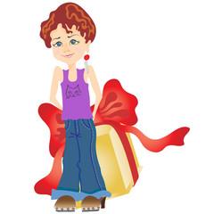 Printed kitchen splashbacks Fairytale World Little girl with big gift box.