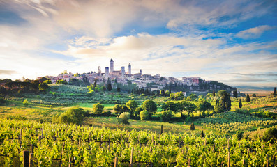 Scenic landscape with San Gimignano at sunset, Tuscany, Italy