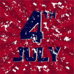 Grunge Happy 4th July Independence Day Vector