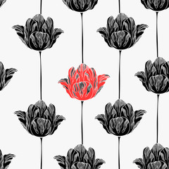 Canvas Prints Abstract Floral Seamless pattern with tulips.