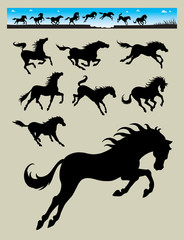 Horse Running Silhouettes 2