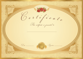 Gold vintage Certificate / Diploma template. Background design