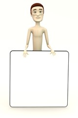 3d render of male swimmer with empty board