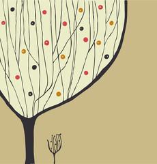 Hand drawn decorative tree. Tree silhouette