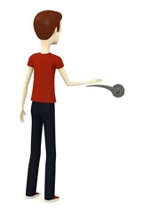 3d render of cartoon character with handle