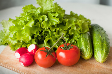 fresh tomatos, cucumbers, radish and salad on the kitchen