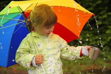 girl with an umbrella in the rain