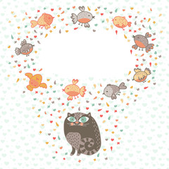 Vector illustration of a cute cat and birds