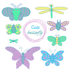 Cute butterfly set in the style of the cartoon