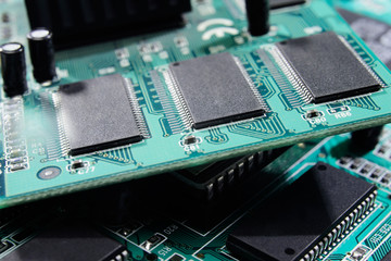 Closeup electronic circuit board