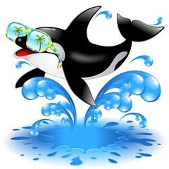 Tuinposter Dolfijnen Killer Whale Cartoon with Sunglasses-Orca Con Occhiali da Sole