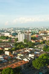 An aerial view of an urban city