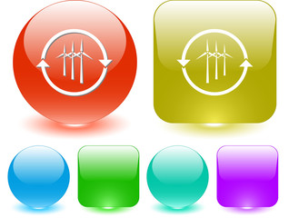 Wind turbine. Vector interface element.