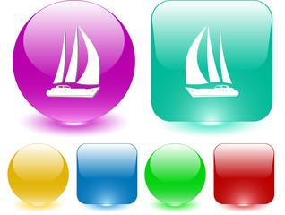 Yacht. Vector interface element.