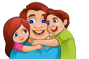 vector illustration of father with kid in Father's Day