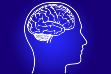 Brain in head on blue background