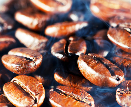 Coffee beans with smoke.