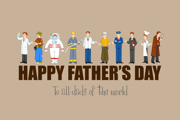 vector illustration of Father's Day with different professional