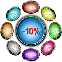 -5%. Vector internet buttons. 8 different projections.