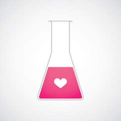 Chemical test tube heart vector