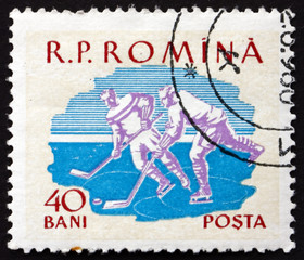Postage stamp Romania 1959 Ice Hockey, Sport