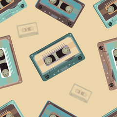 Seamless Pattern with retro audio cassettes. Retro. Vector