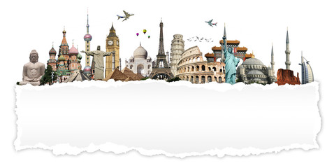 Fotomurales - Travel the world concept torned paper monument