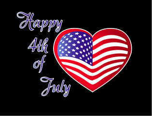 Happy 4th July Independence Day Vector Flag in heart