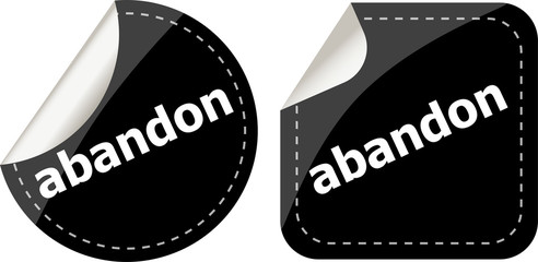 abandon word black stickers set icon button