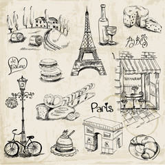 Foto op Plexiglas Doodle Paris Illustration Set - for design and scrapbook - in vector