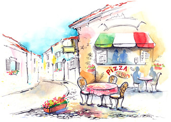 Papiers peints Drawn Street cafe Italy