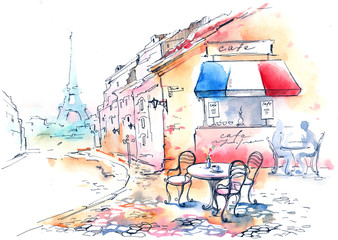 Poster de jardin Drawn Street cafe France