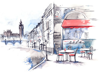 Aluminium Prints Drawn Street cafe England