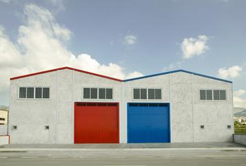 Two industrial buildings symmetrical