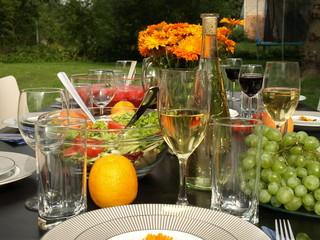 Garden table ready for a party.