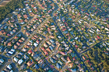 Printed kitchen splashbacks Australia Aerial view of the suburbs roofs near Brisbane, Australia